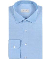 camicia da uomo su misura, canclini, green azzurra canapa, quattro stagioni