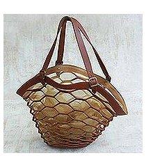 leather shoulder bag, 'nutmeg sambura' (18 inch) (brazil)