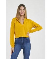 buzo amarillo bennet liso jogging capucha