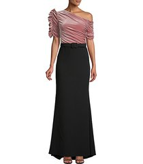 asymmetric ruched velvet gown