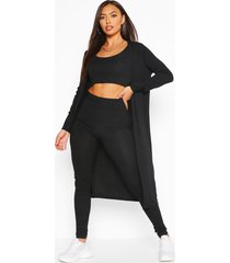 geribbelde crop top, leggings en duster jas set, zwart