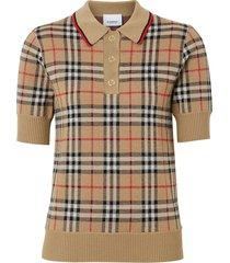 burberry vintage check merino wool polo shirt - neutrals