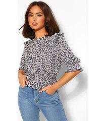 geweven bloemenprint blouse met ruches, marineblauw