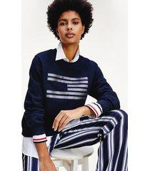tommy hilfiger women's icon organic cotton flag sweatshirt desert sky - xs