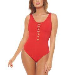 bleu by rod beattie twisted-front one-piece swimsuit women's swimsuit