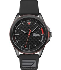 lacoste men's cap marino black silicone strap watch 44mm