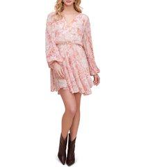 women's astr the label raphaela leopard print long sleeve chiffon dress