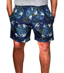 shorts praia ks tactel estampado com bolsos laterais 0386.28 azul
