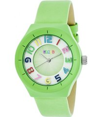 crayo unisex atomic lime genuine leather strap watch 36mm