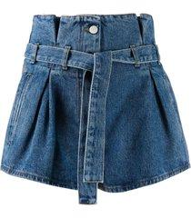 blue denim paper-bag shorts