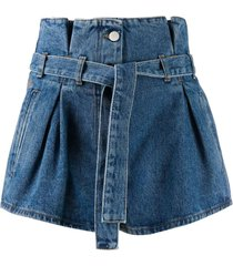 blue denim paper-bag shorts