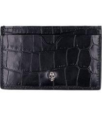 alexander mcqueen croco-print leather card holder