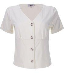 camiseta amplia con botones color blanco, talla 6