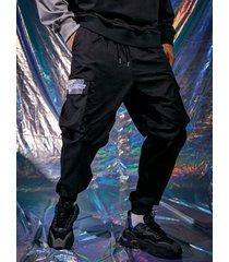distorsión digital casual para hombre 100% algodón estampado de letras carga pantalones