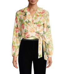 ava & aiden women's ruffle floral wrap blouse - cream multi - size xs