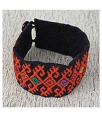 cotton wristband bracelet, 'tangerine geometry' (mexico)