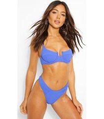 crinkle underwired bikini top, blue