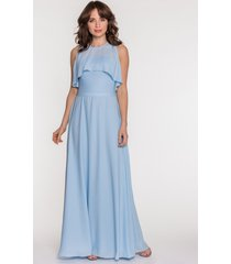 błękitna sukienka z narzutką