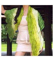 silk scarf, 'evolving green' (thailand)