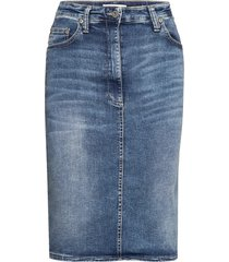 denim skirt london knälång kjol blå please jeans