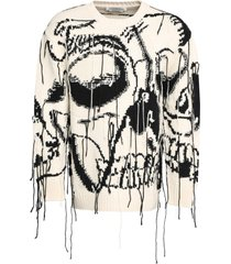 alexander mcqueen intarsia wool and cashmere blend sweater
