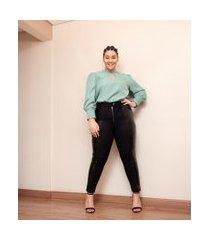 calça legging com faixa sintética na lateral curve & plus size | ashua curve e plus size | preto | g