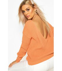 plus v-back oversized sweater, apricot