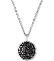 """black diamond pave disc pendant necklace (3/8 ct. t.w.) in sterling silver, 15"""" + 3"""" extender"""