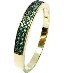 anel kumbayá meia aliança semijoia banho de ouro 18k cravaçáo de zircônia verde esmeralda detalhe em ródio negro - tricae