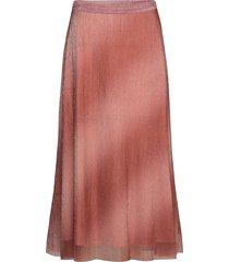 pleated, midi skirt in a beautiful shimmery polyester mix q knälång kjol rosa second female