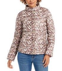 bernardo leopard-print packable puffer coat