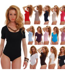 women cotton bodysuit scoop round sheer neck short sleeve thong 1440 lady body