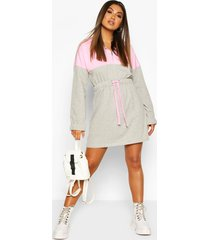 colour block hooded oversized dress, grey