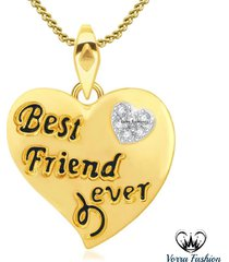 best friend forever diamond pendant w/ chain yellow gold plated 925 pure silver