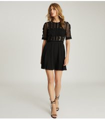 reiss athena - lace detailed mini dress in black, womens, size 14