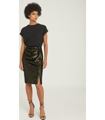 reiss leena - velvet pencil skirt in green, womens, size 14