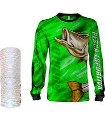 camisa  máscara pesca quisty robalo arisco verde proteção uv dryfit infantil/adulto - camiseta de pesca quisty