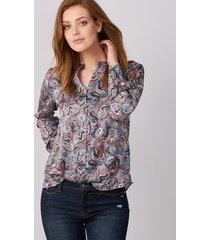 blouse met paisley patroon in satijn-zijde
