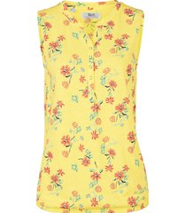 top in jersey a fiori con elastico al fondo (giallo) - bpc bonprix collection