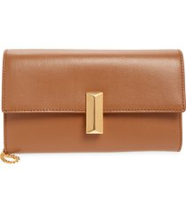 boss mini nathalie leather wristlet clutch - brown