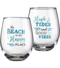 lillian rose at the beach life wine glass, set of 2