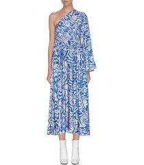'haze' one shoulder plissé pleated maxi dress