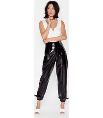 womens vinyl high-waisted buckle pants - black