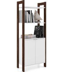 armário multiuso tecno mobili 2 prateleiras 2 portas branco e nogal