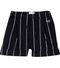 il gufo pinstripe shorts with embroidery