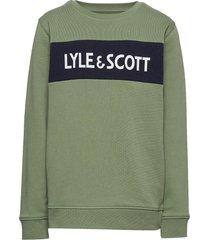 lyle panel bb crew orion blue sweat-shirt tröja grön lyle & scott junior