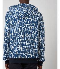 lanvin men's allover printed zipped hoodie - blue/ecru - m