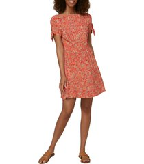 women's o'neill luciana floral tie sleeve minidress, size x-large - red