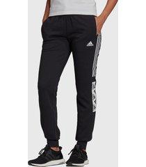 pantalón de buzo adidas performance w bold block pant negro - calce regular
