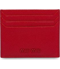 miu miu madras leather card holder - red